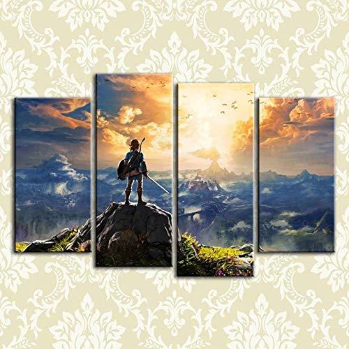 HNTHBZ Leinwand-Malerei Moderne HD Gedruckte Bilder-Rahmen-Leinwand-Malerei-Plakat 4-Panel The Legend of Zelda Spiel Wand-Deko Wohnkultur for Wohnzimmer WWJYB0032 (Size : 40x80x2 40x100cmx2)