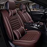 FREESOO Car Seat Cover Leather, Front Rear Full Set Luxury Car Seat Covers Universal Fit for 5 Seats Most Cars SUV Pick Up Truck Interior Accessories(Coffee 3