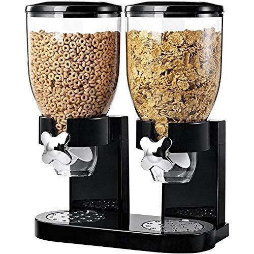 MediaWaveStore Dispensador de Cereales Doble contenedor 8 LT para Cereales Frutos Secos y Dulces