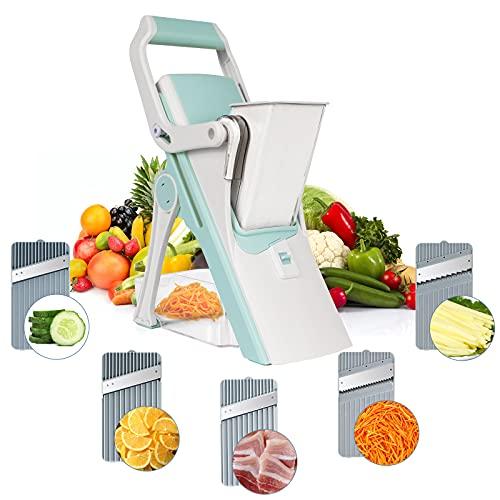 Apuppcvd Safe Mandoline Slicer for Kitchen,Vegetable Chopper,Veggie Cutter,French Fry Maker,Onion Cutter Potato Salad Fruit Carrot Chopper with Container Chopper Vegetable Cutter