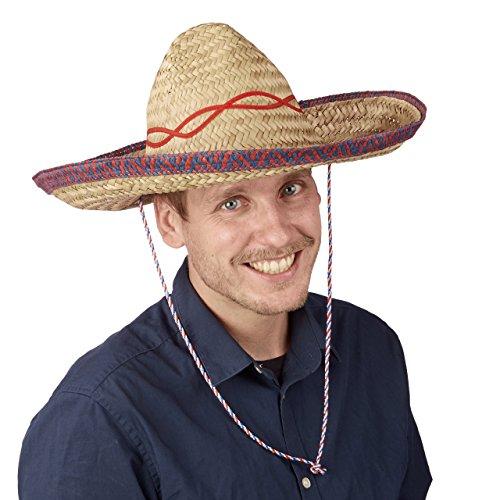 Relaxdays 10021527 Sombrero Hut Stroh, Mexikohut, HxBxT: 18 x 44 x 48 cm, Strohhut geflochten, Kinnriemen, Mexiko Partyhut, beige