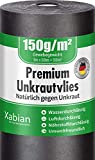 Xabian Anti Unkrautvlies 150g/m² Gartenvlies Rolle 50m x 1m = 50m² I Unkrautfolie sehr hohe UV-Stabilisierung - extrem reißfest und wasserdurchlässig