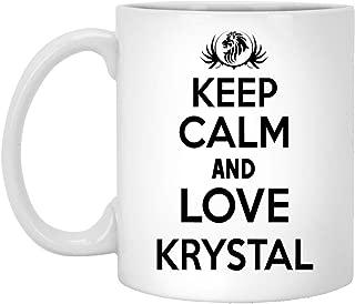 Keep Calm And Love Krystal Coffee Mug! - Personal Gifts ForKRYSTAL - Birthday Mug For Men, Women - On Christmas, Anniversary, Special Day, New Years, 11oz White Ceramic Mug