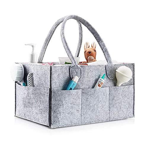 TRAMILY - Organizador de pañales para bebé, organizador de coche con compartimento intercambiable, grande, organizador de pañales de fieltro para ropa, toallas, pañales (gris)