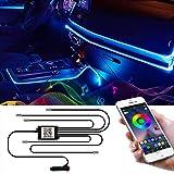 Wilktop Luz Interior Coche con APP Tiras LED Coche Tira de luces LED para interior de coche, 6m Tira LED Iluminación