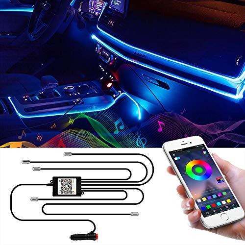 Wilktop LED Innenbeleuchtung Auto 6m LED Auto LED Strip RGB Streifen Licht Neonleuchtleisten Ambientebeleuchtung Innenraumbeleuchtung Lichtleiste Mit App