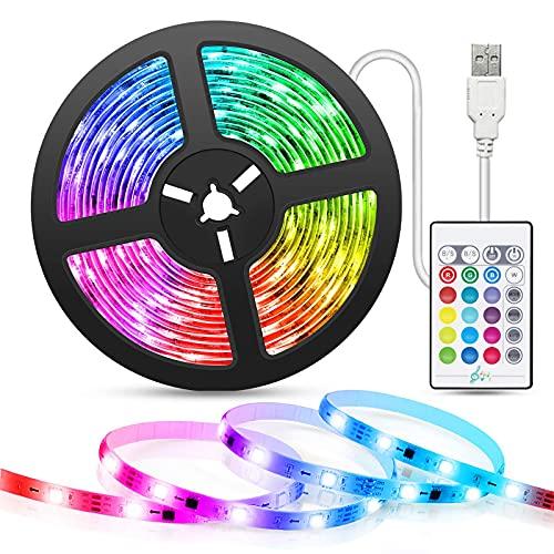 La nueva retroiluminación LED para TV,tira de luz LED con sincronización de música,tira de luz LED alimentada por USB de 2M / 5M con control remoto,tira de LED RGB 5050 para decoración de dormitorio