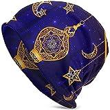 Unisexe Casquette Bonnet Ramadan Islam Religion Musulmane Vacances Lampe Mince Casquette de tête de Mort Baggy Oversize Tricot Chapeau Noir