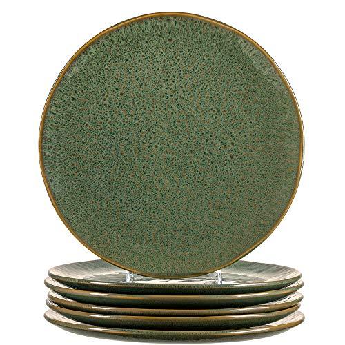 Leonardo Matera Keramik-Teller 6-er Set, spülmaschinengeeignete Speise-Teller, Essteller mit Glasur, 6 runde Steingut-Teller, Ø 27 cm, grün, 018542