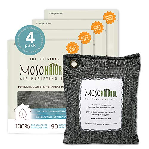 MOSO NATURAL: The Original Air Purifying Bag. for Cars, Closets, Bathrooms, Pet Areas. an Unscented, Chemical-Free Odor Eliminator. 200g 4 Pack (Charcoal)