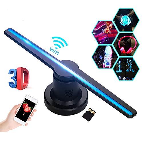 Aibecy 3D WiFi hologram projector luchtventilator holografische display machine speler met 384 stuks LED-licht parels houder afstandsbediening 16 GB TF kaart compatibel met iOS Android Smartphone PC