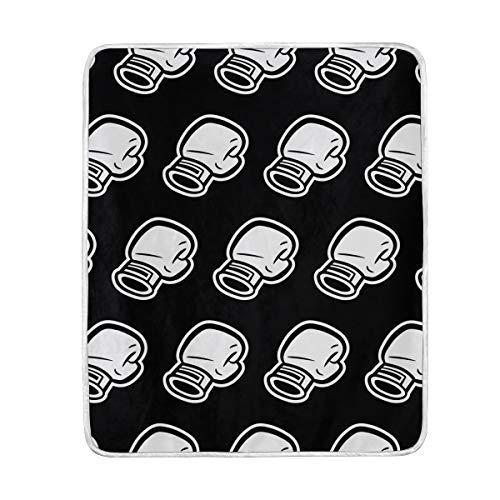 Schwarz-weiße Boxhandschuhe, weich, warm, leicht, Samt, Kurze Plüsch-Mikrofaser-Decke für Bett, Couch Stuhl, Sofa, Reisen, Camping, 127 x 152 cm