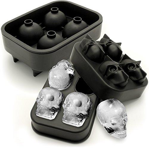 igadgitz Home U6818 Silikon Eiswürfelform Totenkopf Form Skull Eiswürfel für Cocktails, Whiskey, Likör & andere Drinks - 2 Pack