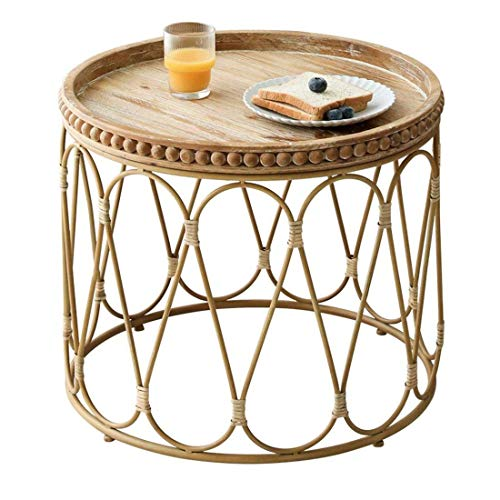 YVX End Side Sofa Table Small End Side Table,Round Rattan Coffee Tea Table,for Living Room Office Bedroom Furniture,Dia 50cm