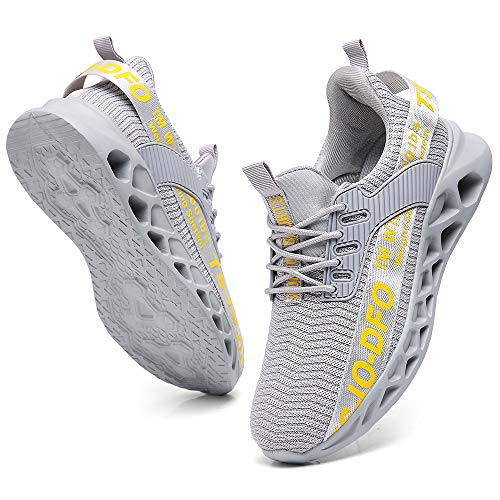 FUTAI Women's Fashion Sport Shoes Size 5 Lightweight Casual Walking Athletic Shoes Comfort Breathable Mesh Work Slip-on Grey Sneakers