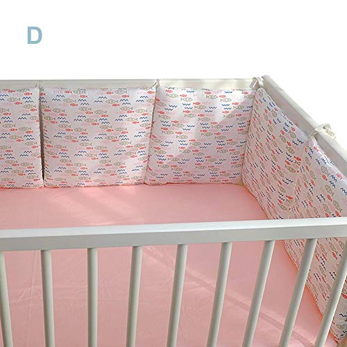 Getherad 6 stuks babynestje bedomranding hoofdbescherming katoen voor babybedden 6 stuks Set kerstbumper, babybed bumper, katoen, Safe kribbe bumper, beddengoedset, Usefulness