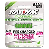 Rayovac PL7244 - Platinum Rechargeable NiMH Batteries, AAA, 4 per Pack-RAYPL7244