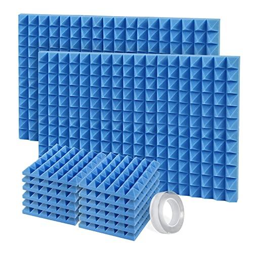 Pannelli Fonoassorbenti, 12 Pezzi Pannelli Fonoisolanti 30 X 30 X 5 cm con Adesivo per Insonorizzazione Stanza Correzione Acustica (Blu)