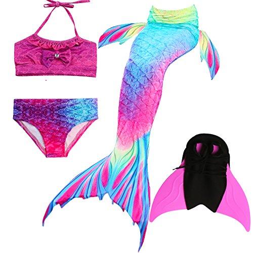Das beste Mädchen Bikini Badeanzüge Schönere Meerjungfrauenschwanz Zum Schwimmen mit Meerjungfrau Flosse Schwimmen Kostüm Schwanzflosse - Ein Mädchentraum- Gr. 130, Farbe: A02
