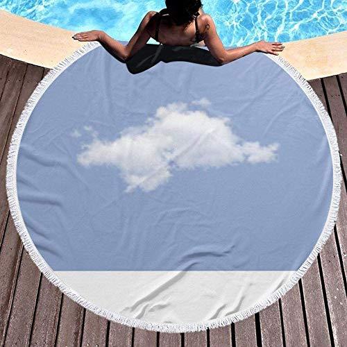 Toalla De Playa Redonda Serenity Blue Pantone Cloud Manta Circular Gruesa De Microfibra para Nadar para Viajes Al Aire Libre, Estera De Picnic para Yoga, Mantel De Tapiz con Flecos De Borla, Suave