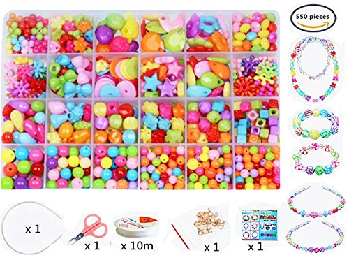 vytung 24 Arten Bunte Baby Stringing Perlen Spiel Schnürsystem Perlen Beads Spielzeug DIY Perlenschmuck für Kinder zum Basteln von Schmuck Ketten Armbändern(color5#)