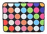 MySleeveDesign Laptoptasche Notebooktasche Sleeve für 10,2 Zoll / 11,6-12,1 Zoll / 13,3 Zoll / 14 Zoll / 15,6 Zoll / 17,3 Zoll - Neopren Schutzhülle mit VERSCH. Designs - Points Black [11-12]