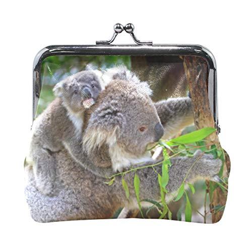Koala Geldbörse mit Münzverschluss, australisches Fell, für Damen, Mädchen, Leder, Geldbörse, Schnalle