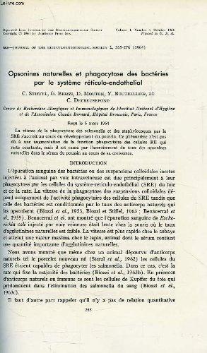 OPSONINES NATURELLES ET PHAGOCYTOSE DES BACTERIES PAR LE SYSTEME RETICULO-ENDOTHELIAL