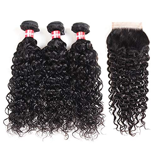 Brazilian Water Wave Bundles With Closure(16 18 20 +14) Wet and Wavy Human Hair Weave 3 Bundles With 5x5 Lace Closure 100% Unprocessed Virgin Remy Hair Extensions Free Part Natural Black Color