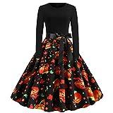 LEXUPE Damen Neckholder 1950er Vintage Retro Rockabilly Kleider Petticoat Faltenrock Cocktail Festliche Kleider(Schwarz,Medium)