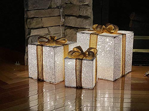 TisYourSeason 3pc Lighted Tinsel Boxes Presents Outdoor Christmas Decor
