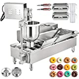 VBENLEM Commercial Automatic Donut Making Machine, 2 Rows Auto Doughnut Maker, 7L Hopper Donut Maker with 3 Sizes Moulds, 110V Doughnut Fryer, 304 Stainless Steel Auto Donuts