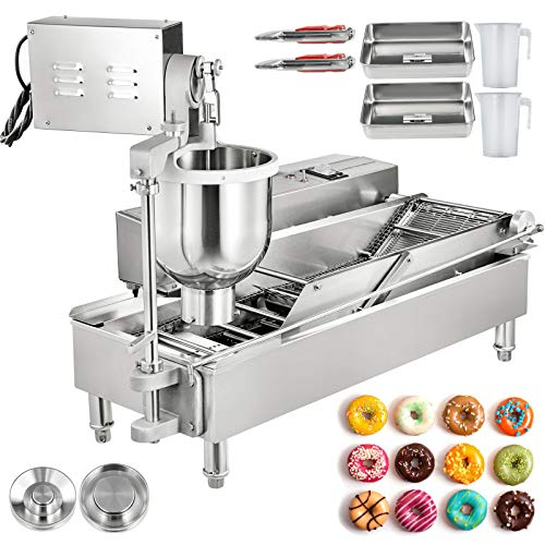 VBENLEM Commercial Automatic Donut Making Machine, 2 Rows Auto Doughnut Maker, 7L Hopper Donut Maker with 3 Sizes Moulds, 110V Doughnut Fryer, 304...