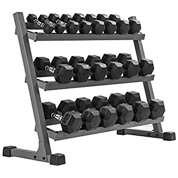 XMark 550 lb Dumbbell Set and Heavy Duty Dumbbell Rack 5 to 50 lb Hex Dumbbell Set  10 Pair  with 3 Tier Storage Rack Dumbbells and Dumbbell Storage Rack