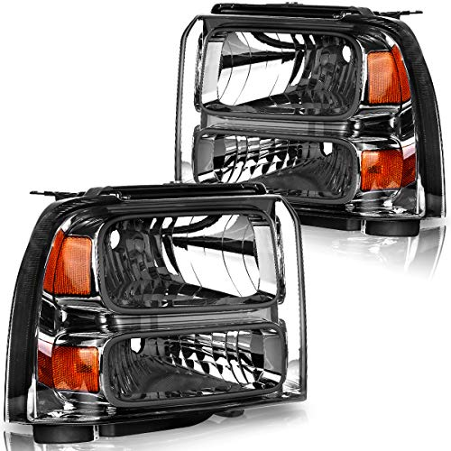 OEDRO Headlight Assemblies Compatible with 2005-2007 Ford F250 F350 F450 F550 Super Duty & 2005 Ford Excursion, Amber Reflectors Smoke Lens, Black Housing (Driver & Passenger Side)