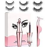 Magnetic Eyelashes and Eyeliner Set, Coovee Magnetic 3D Artificial False Eyelashes Kit 3 Pairs Reusable Natural Lashes with Tweezer