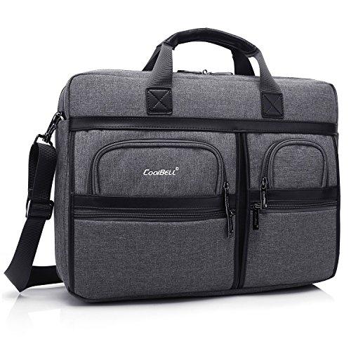 CoolBELL Laptop Aktentasche 17 Zoll schützend Messenger Bag Umhängetasche Herren Businesstasche Arbeitstasche Notebook Schultertasche Multifunktional Henkeltasche Laptoptasche für MacBook(Grau)