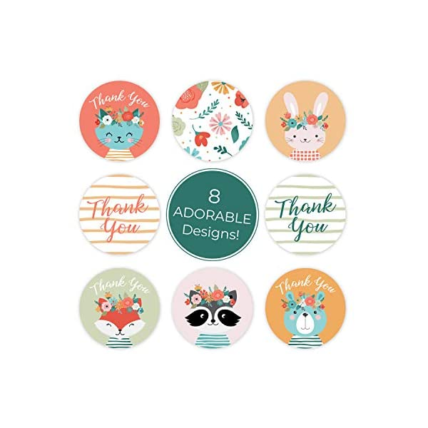 Boho Animals Thank You Stickers – 1.5 Inch Circle Labels / 500 per Pack/Baby Shower Thank You Stickers