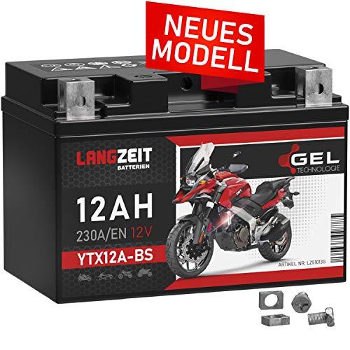 LANGZEIT YTX12A-BS GEL Motorradbatterie 12V 12Ah 230A/EN 51013 YTZ12S GT12A-BS CTX12A-BS Gel Batterie 12V doppelte Lebensdauer vorgeladen auslaufsicher wartungsfrei ersetzt 10Ah