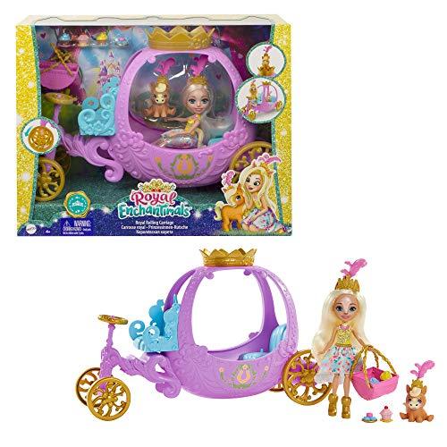 Enchantimals GYJ16 - Spielset Rollende Kutsche für Prinzessinnen (20,5cm), aus der Royals Kollektion, mit Peola Pony Puppe und Tierfigur, 7Zubehörteile, tolles Geschenk für Kinder von 3 bis 8Jahren
