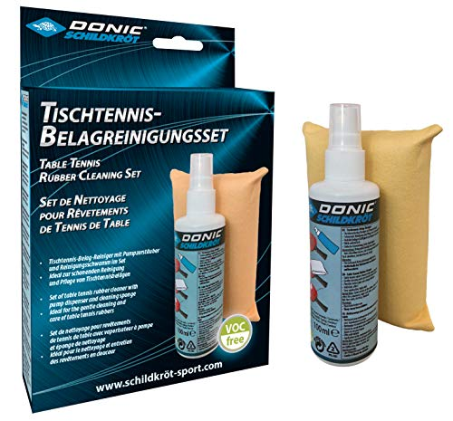 Donic-Schildkröt Kit Tenis de Mesa, 100 ml de Espuma Limpiadora en una Bomba Pulverizadora y Esponja de Limpieza, para Renovar Las Almohadillas de Las Raquetas, 828529