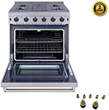 Thor Kitchen 30 inch Freestanding Pro-Style Gas Range with 4.55 cu.ft. Oven, 5 Burners, in Stainless Steel - LRG3001U + LP Kit