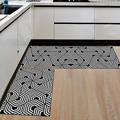 KUKUALE Modern Geometric Kitchen Mat Anti-Slip Bathroom Carpet Home Entrance/Hallway Door Mat Wardrobe/Balcony Area Rug Creative Carpets(40x60cm)+(120x40cm) t