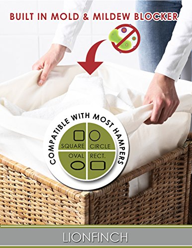 """Laundry Hamper Liner That Blocks Mold and Mildew. Extra Large 38"""" Tall x 28"""" Wide. Bright White Super Soft Canvas. Fits 5 Loads of Laundry. Easy to Wash and Dry. Proudly Made in California!"""