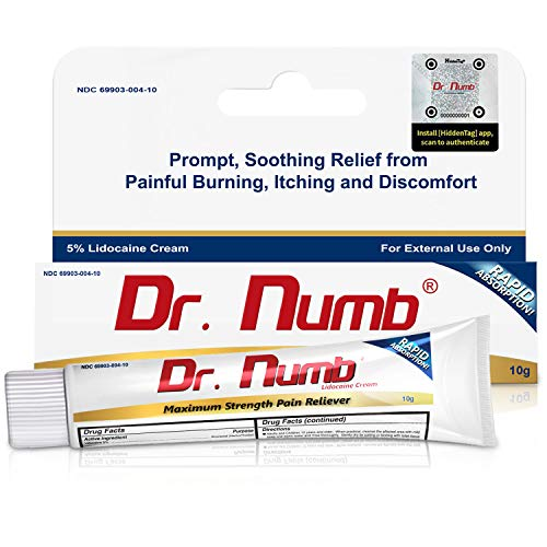Dr. Numb 5% Lidocaine Topical Anesthetic Numbing Cream for Pain Relief, Maximum Strength with Vitamin E for Real Time Relieves of Local Discomfort, Itching, Pain, Soreness or Burning - 10g