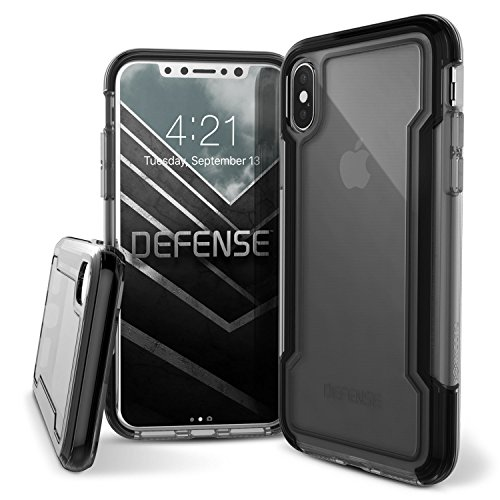 X-Doria, Compatible with Apple iPhone X, Defense Clear - Military Grade Drop Protection, Clear Protective Case for iPhone X (Black)