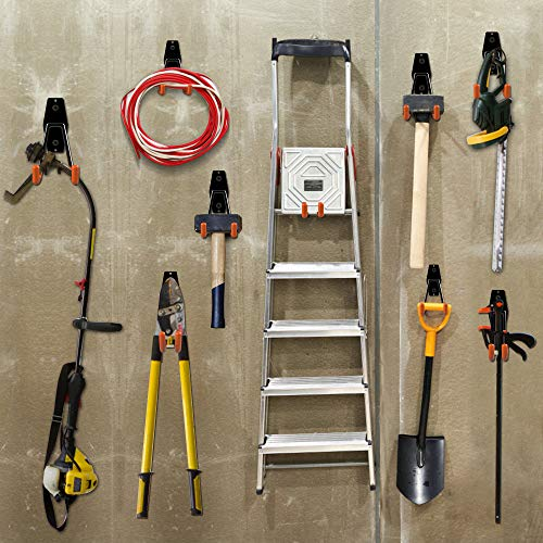 ORASANT Garage Hooks Heavy Duty 10 Pack, Steel Garage Storage Hooks for Garage Organization, Super Strong Utility Garage Wall Hooks, Garage Hangers Tool Hangers for Bikes, Ladders etc. (Orange)
