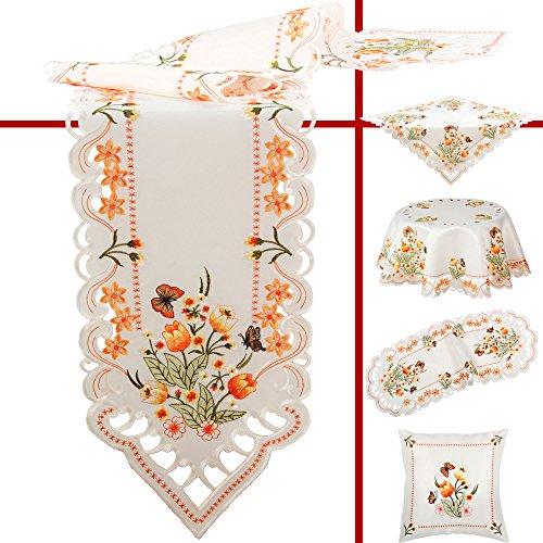 Quinnyshop Orange Tulpen und Schmetterlinge Stickerei Tischläufer 35 x 70 cm Oval Polyester, Weiß