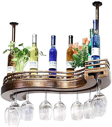 Techo del estilo europeo del vino Bastidores, creatividad diseñador de vino titular de la botella, estante del vino de cristal, cubilete Stemware Bastidores, 60/80 / 100cm, bronce bar Mobiliario de co