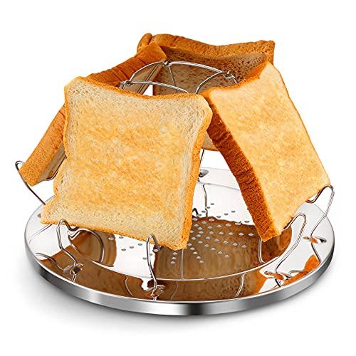 YIKATU Soporte para tostadas de acero inoxidable para camping, portátil, plegable, multifuncional, perforado, para cocinar al vapor, adecuado para la cocina familiar, picnic, al aire libre